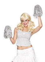 Cheerleader Pom Poms argent métallique Accessoires génériques