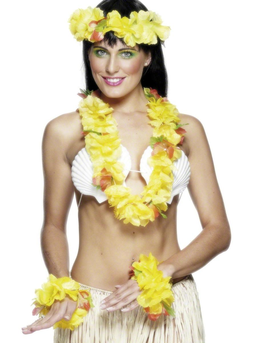 Accessoires hawaïennes Jaune Set hawaïen