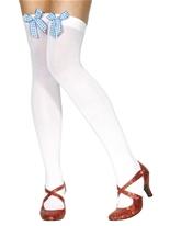 Cuisse cuissardes blanc avec noeud Vichy bleu Bonnet