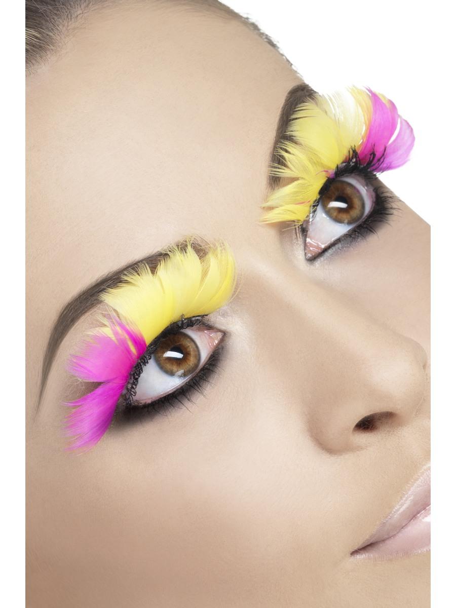 Cils Cils plumes roses et jaunes