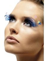 Cils de panache de plumes bleu Cils