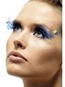 Cils Cils de panache de plumes bleu