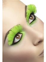 Cils plumes vert néon Cils