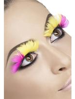 Cils plumes roses et jaunes Cils