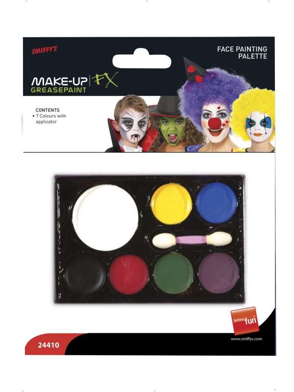 Déguisement Maquillage Face à la Palette de peinture blanc jaune bleu noir rouge vert violet