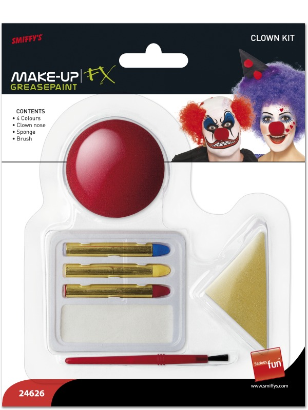 Déguisement Maquillage Clown maquillage Set blanc rouge jaune bleu