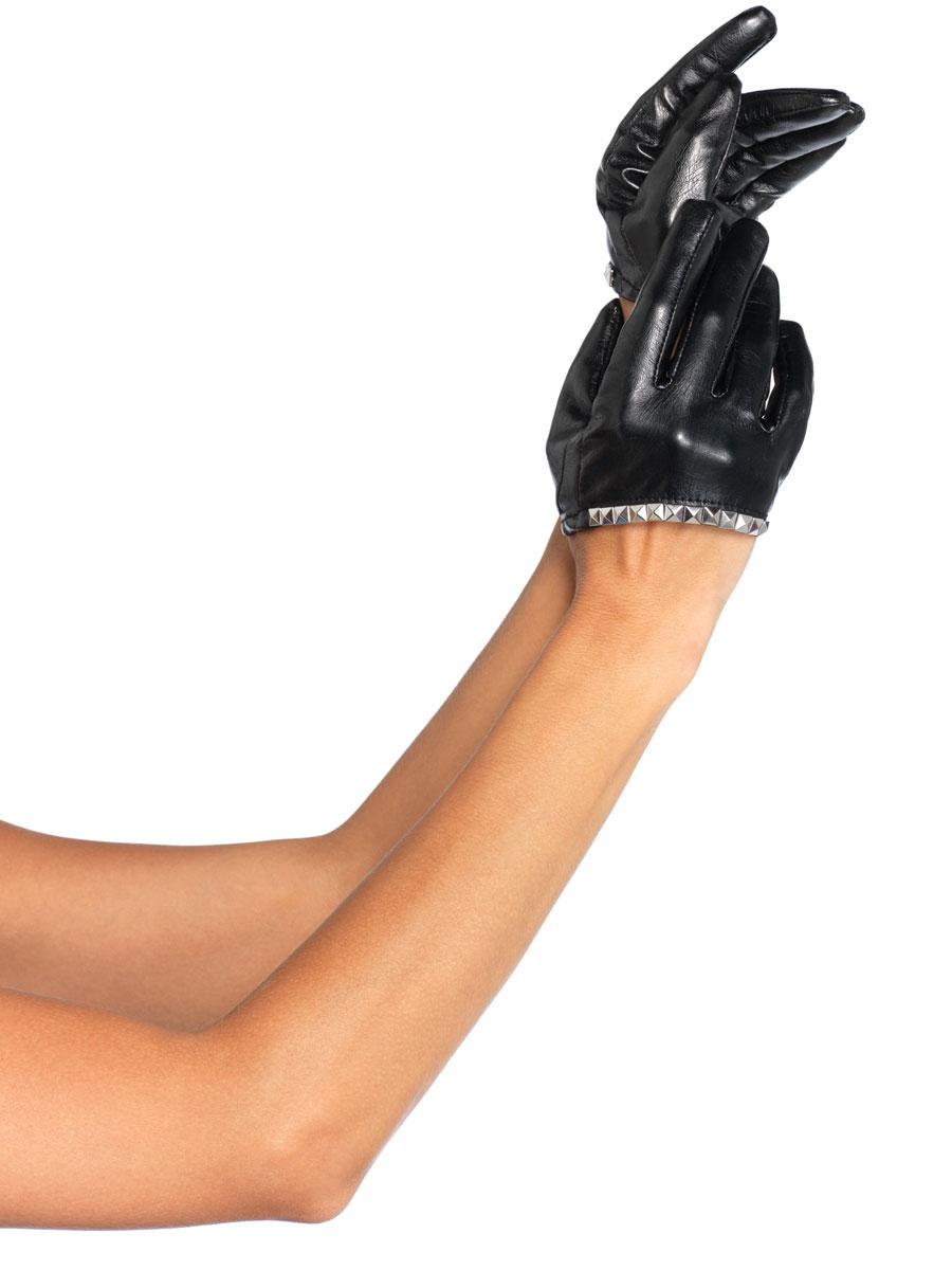 Gants Simili-cuir recadrée gants noirs