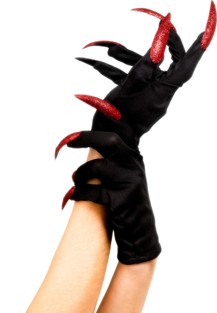 Gants Halloween gants noir rouge