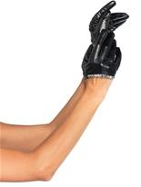 Simili-cuir recadrée gants noirs Gants