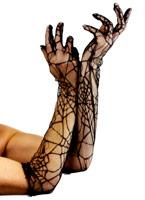 Spiderweb longs gants dentelle noire Gants