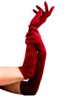 Longs gants de velours rouge Gants