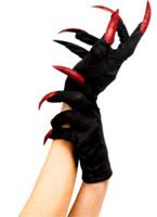 Halloween gants noir rouge Gants