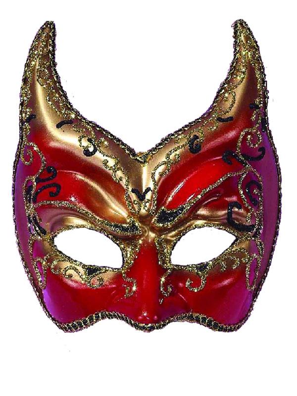 Loups Eyemask rouge, or et noir sur le bandeau