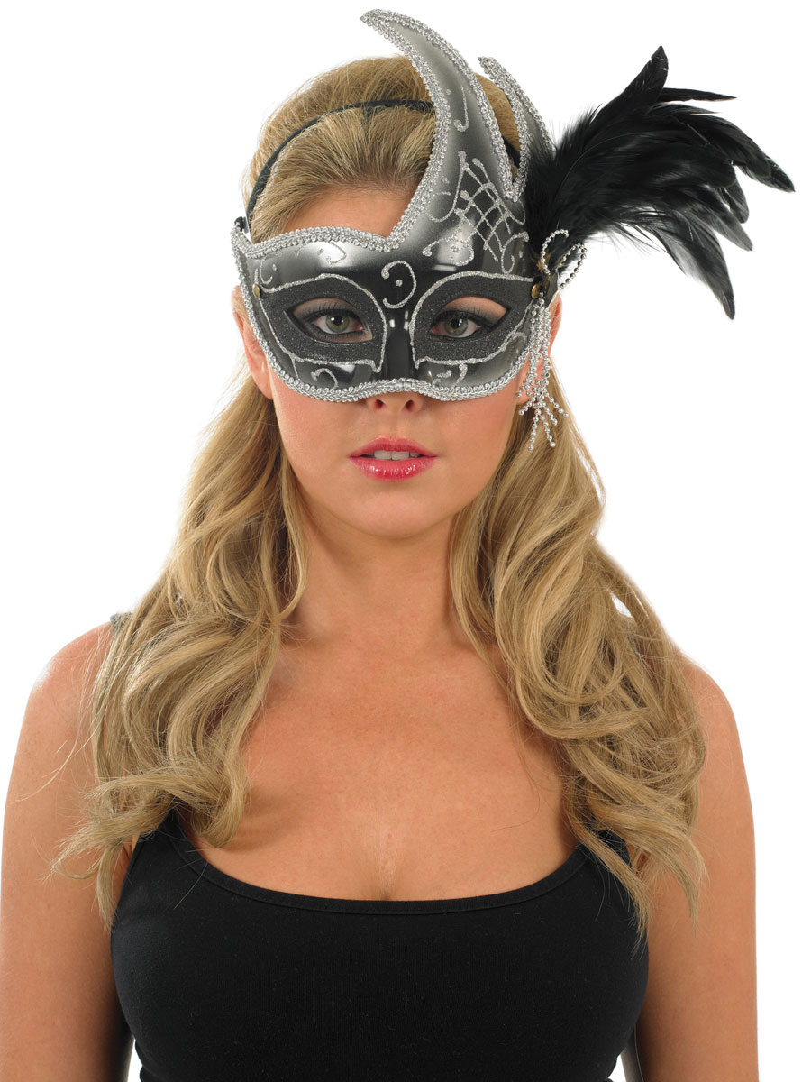 Loups Masque pour les yeux de plumes noires et blanches