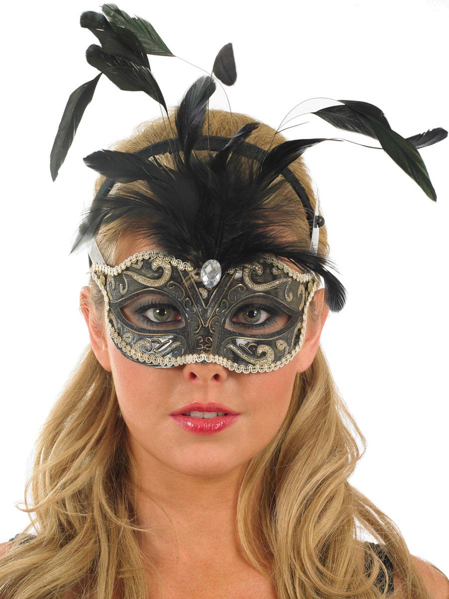 Loups Masque pour les yeux des plumes noir et argent