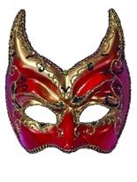 Eyemask rouge, or et noir sur le bandeau Loups