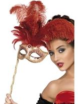 Masque de fantaisie baroque avec des plumes Loups