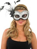 Blanc et noir paillettes masque pour les yeux Loups