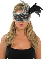 Masque pour les yeux de plumes noires et blanches Loups