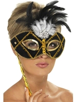 Eyemask noir et or Loups