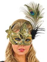 Masque de plume de paon d'or et noir Loups