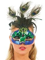 Masque de plume de paon vert et bleu Loups