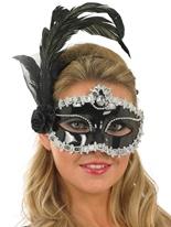 Masque plume argent et noir pour les yeux Loups