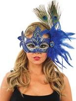 Masque pour les yeux bleu et or plume Loups
