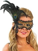 Masque pour les yeux des plumes noir et or Loups