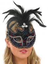 Masque pour les yeux des plumes noir et argent Loups
