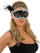Masque paillettes argent et noir pour les yeux Loups