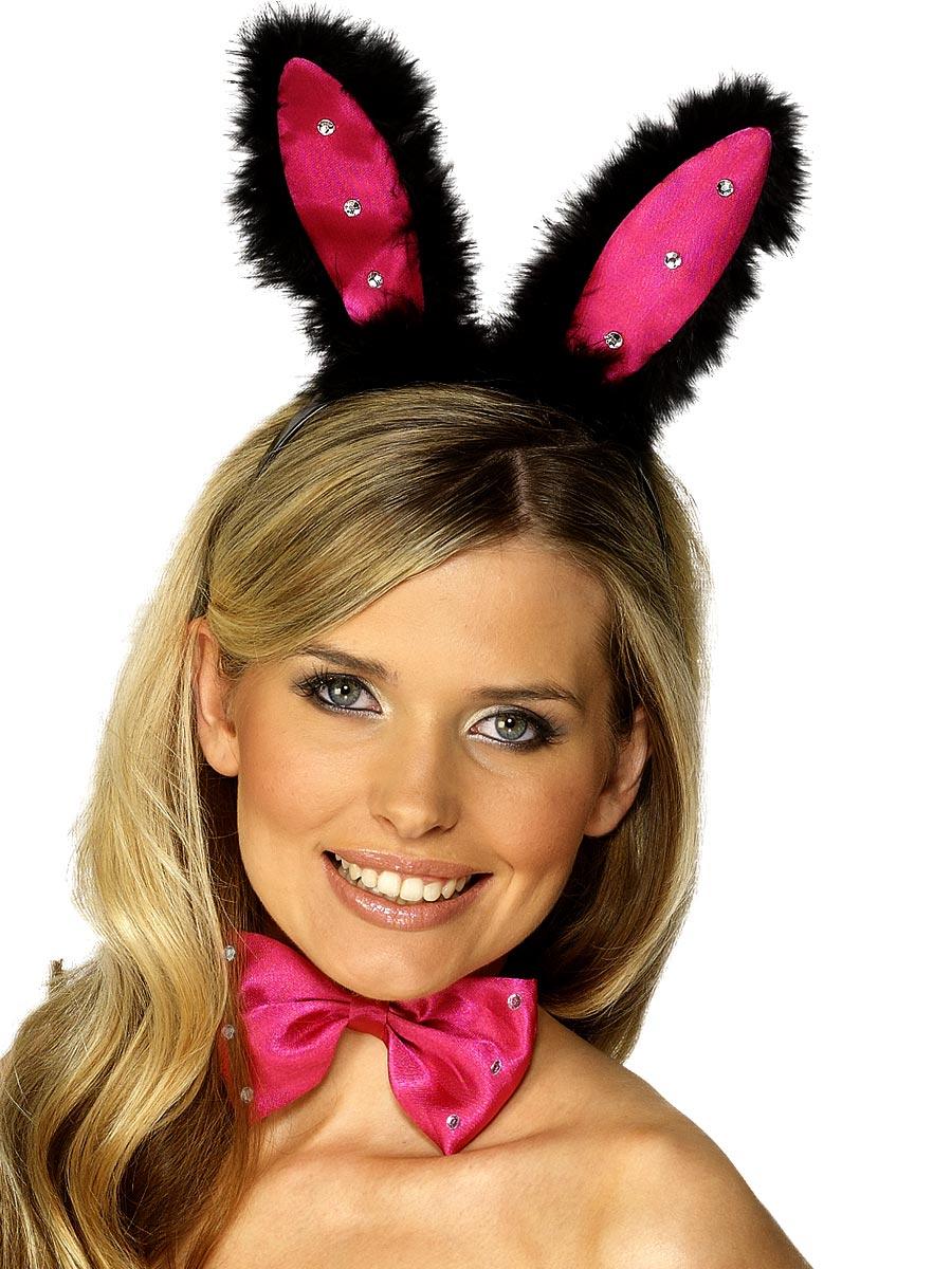 Bandeaux & Postiches Oreilles de lapin Diamante jeu noir rose