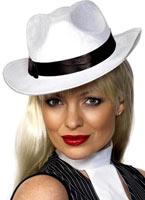 Chapeau de gangster velours blanc soie Borsalino Chapeau