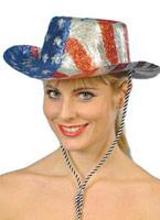 Stars And Stripes paillettes Cowboy chapeau Pvc Chapeaux de Cowboy