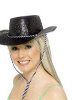 Chapeau de cowboy paillettes noir Pvc Chapeaux de Cowboy