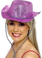 Chapeau de cowboy paillettes rose Pvc Chapeaux de Cowboy