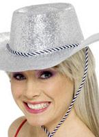Chapeau de cowboy paillettes argent Pvc Chapeaux de Cowboy