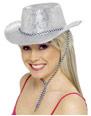 Chapeaux de Cowboy Chapeau de cowboy paillettes argent Pvc