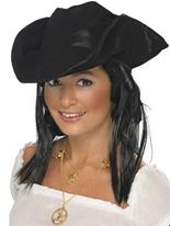 Chapeau de pirates avec cheveux Chapeaux de Pirate