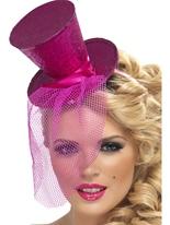 Fièvre Mini chapeau haut rose chaud Hauts-de-Forme