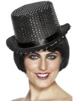 Feutre noir chapeau haut de forme pailleté avec une bande de soie noire Hauts-de-Forme