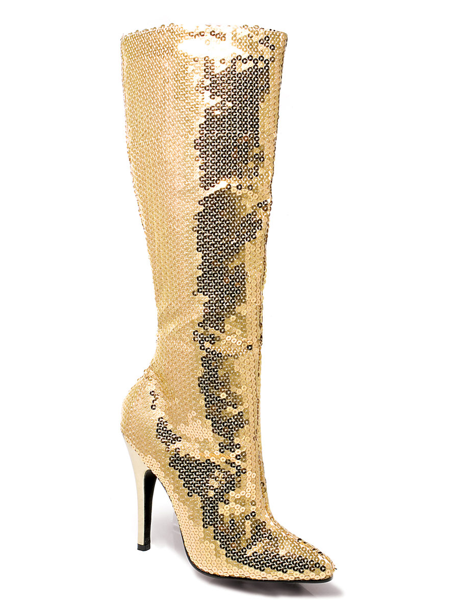 Chaussures pour femmes Bottes de genou de Sequin or dames