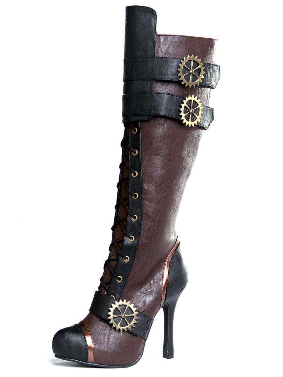 mesdames haute steampunk bottes au genou chaussures pour. Black Bedroom Furniture Sets. Home Design Ideas