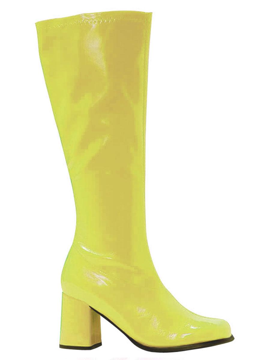 Chaussures pour femmes Bottes gogo jaune brevet
