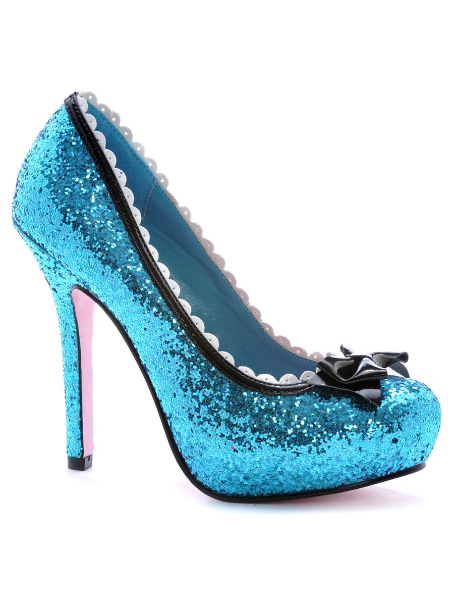 Chaussures pour femmes Princess Blue Glitter pompe chaussures