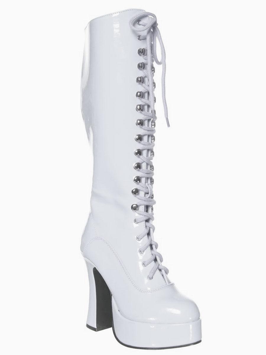 Chaussures pour femmes Ladies White Lace Up bottes