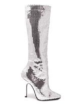 Dames d'argent Sequin genou Bottes Chaussures pour femmes