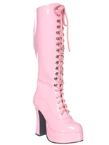 Mesdames rose Lace Up bottes Chaussures pour femmes