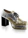 Chaussures pour hommes Hommes Glam Rock Silver & Gold plate-forme Shoes