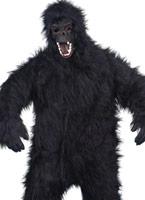 Costume de gorille fourrure noire tissu Animaux Costume Adulte